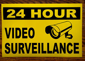 24 HOUR VIDEO SURVEILLANCE 100% MAGNETIC SIGN 8x12 NEW-- FREE SHIPPING