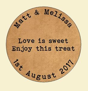 105-x-Personalised-Wedding-Shabby-Brown-Kraft-Effect-Favour-Labels-Stickers