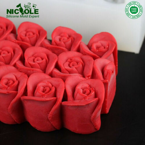 Rectangular Silicone Soap Mold with 3D Rose Flower DIY Tools Decoration Mould