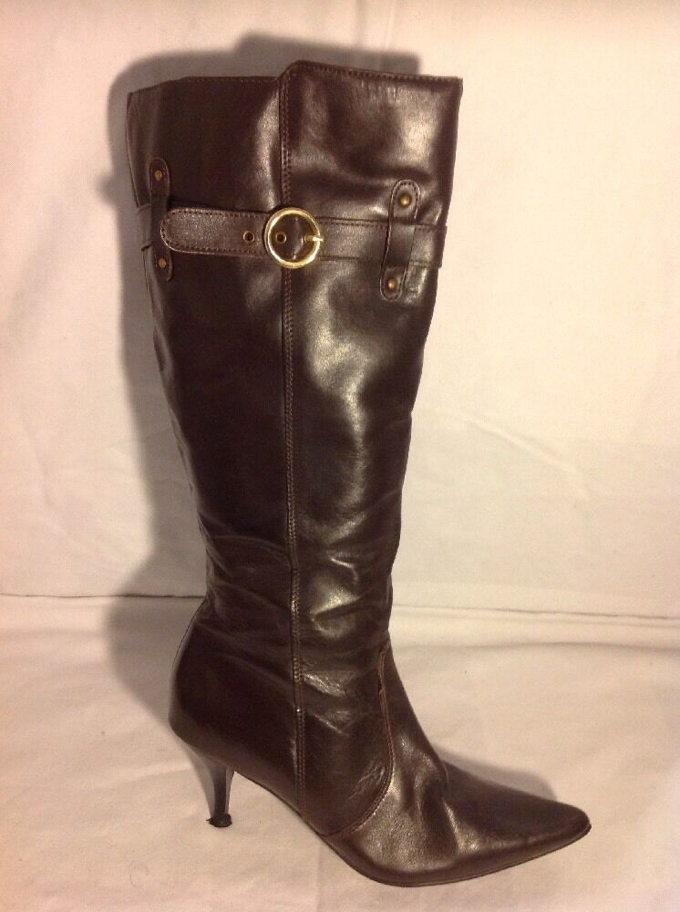 Kaleidoscope Brown Knee High Leather Boots Size 5