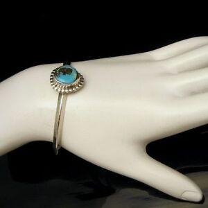 Southwestern-Faux-Turquoise-Cuff-Bangle-Bracelet-Vintage-Small-Narrow-Wrist