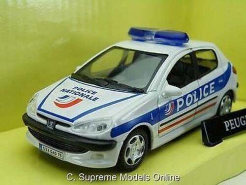 Peugeot 206 escala 1//43RD de coche de policía francesa ejemplo de color blanco//azul T3412Z =
