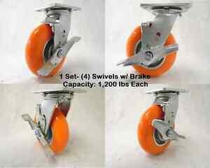 "6"" x 2"" Swivel Caster with Brake apex Polyurethane Wheel 1200lbs ea. Tool Box(4)"