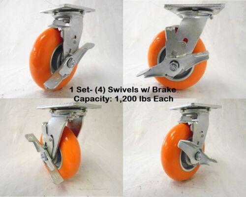 "4 6/"" x 2/"" Swivel Caster with Brake apex Polyurethane Wheel 1200lbs ea Tool Box"