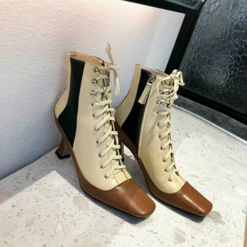 Details about  /Womens Chic Leather Multicolor Lace Up High Heel Booties Ankle Boots Shoes MOON