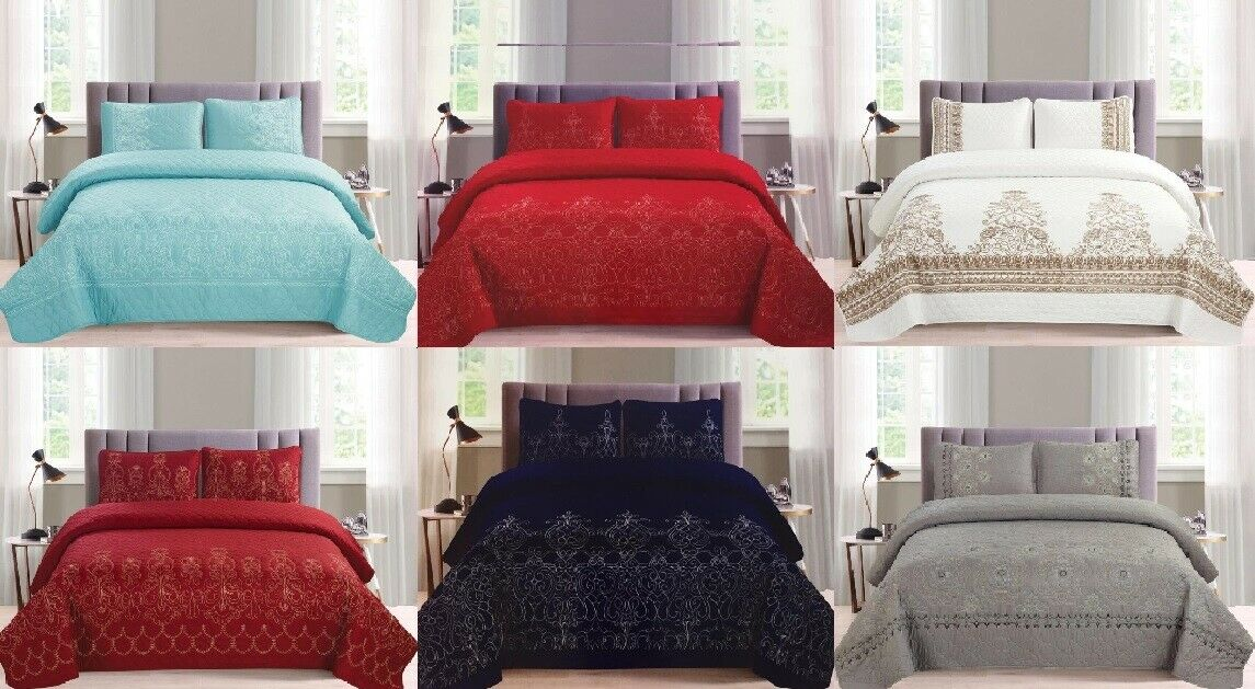 3 Piece Comforter Quilt Embroidery Set Royal Bedding Luxury Over Größe Queen King