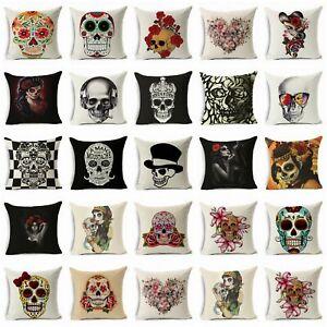 Cushion-Cover-18-034-Home-Decor-Skull-Printing-Cotton-Linen-Pillow-Case-Throw-Sofa