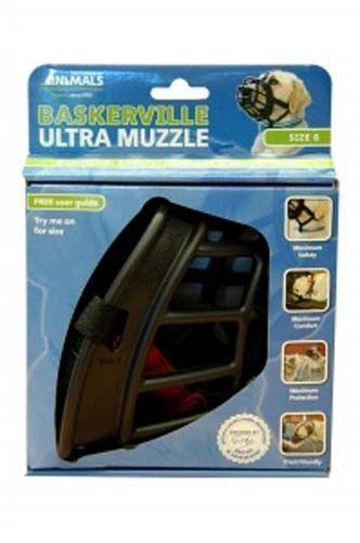 Baskerville Ultra Dog Muzzle Adjustable Deluxe Dog Muzzle Black Size 6