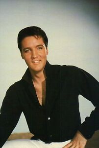 Handsome Elvis Presley Smiling and Wearing A Black Shirt, The King ...