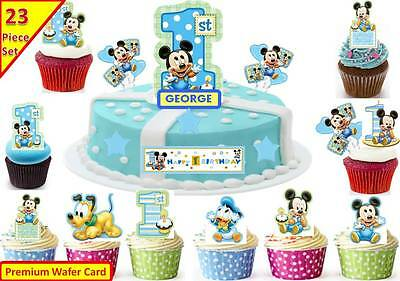 Wondrous Boys Mickey Mouse 1St Birthday Cup Cake Scene Toppers Wafer Edible Personalised Birthday Cards Veneteletsinfo