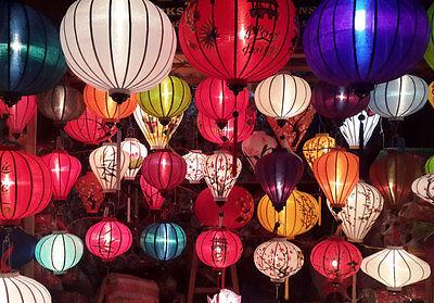 silk lanterns for Home decorating 10cm Set 16 mini Hoi An silk lanterns