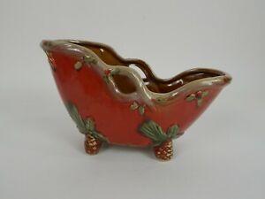 Christmas-Sleigh-Ceramic-Glazed-Flower-Pot-Planter-11-034-x-6-039-x-4-034