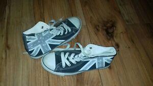 Aktiv Jungen Sneaker Gr 38 Grau Flagge England Großbritannien Schnürer Halbschuhe Reine WeißE