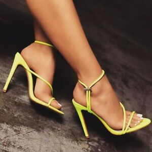 Womens-Open-Toe-High-Stiletto-Heel-Shoes-Cut-Out-Slingbacks-Slip-On-Sandals-Chic