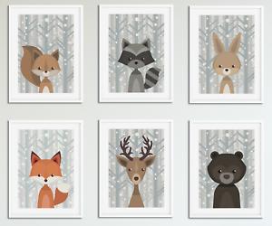 Nursery-Animal-Prints-Lot-de-6-Peekaboo-Woodland-Animaux-Photos-pour-nursery