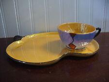 Vintage Orange & Blue Luster China Deco Motif Cup & Plate Lunch Set