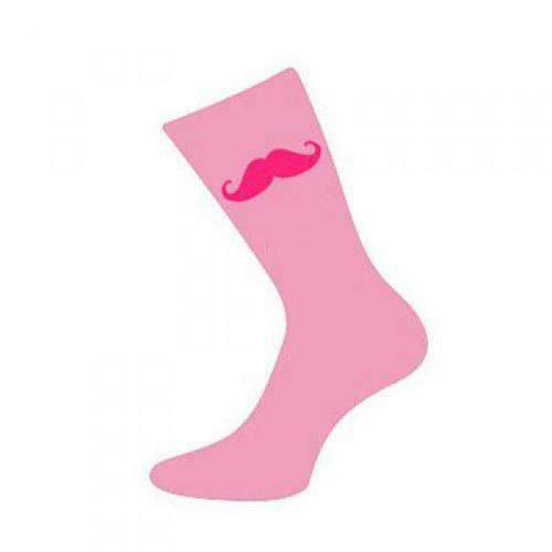 Baby Pink Socks With Pink Moustache Movember Style Novelty Gift For Him UK 5-12