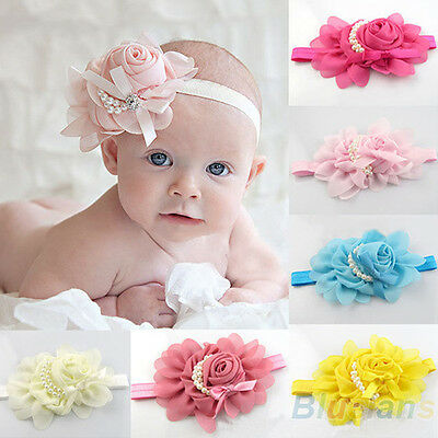 Baby Chiffon Pearl Headband Rose Flower Hairband Photography Prop Band Hot B54U