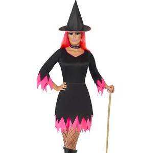 Disfraz-de-Bruja-Halloween-Traje-Negro-Rosa-Traje-para-Mujer-Nuevo-por-Smiffys