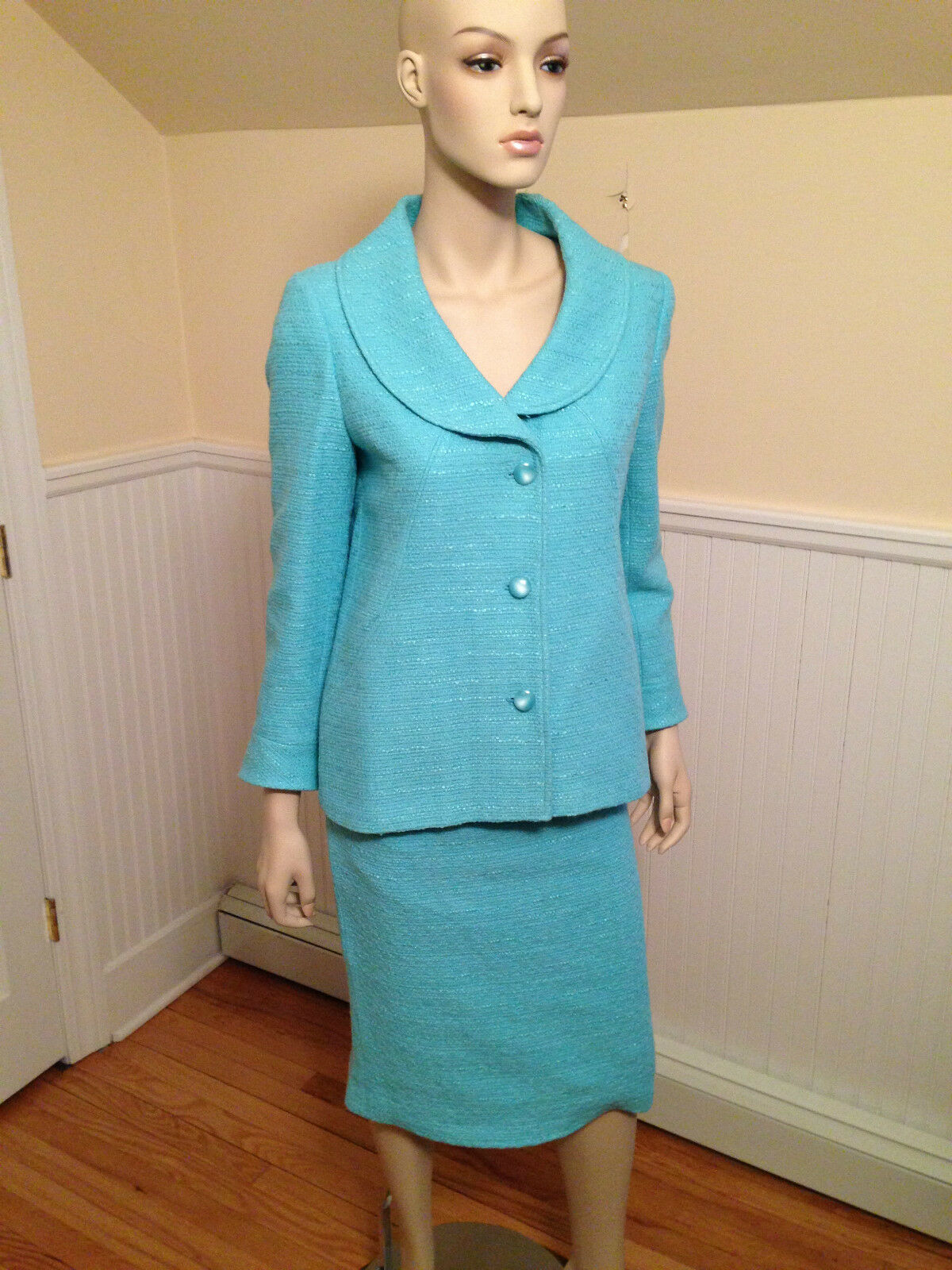 Vintage CHRISTIAN DIOR Boutique Turquoise bluee Cotton Classic Skirt Suit Medium