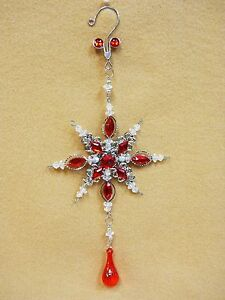 Red-Jeweled-SNOW-FLAKE-Christmas-Ornament-Decoration-Ovid-Faceted-Gems-10