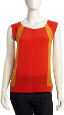 NWT FRENCH CONNECTION 'Sarah' Silk Colorblock Top in Sierra Orange Sz 4
