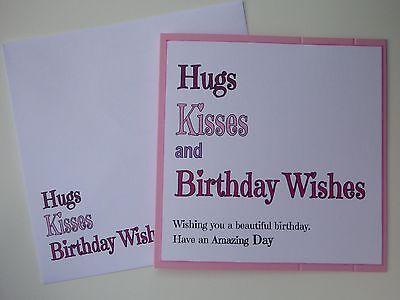 Handmade by Craftybarnes Birthday Card Birthday//Friendship Card-Hugs /& Kisses