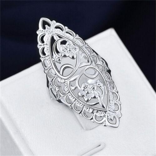 Moda Lindo lleno de plata esterlina 925 anillo hueco grande para Damas Mujeres Anillos Sr