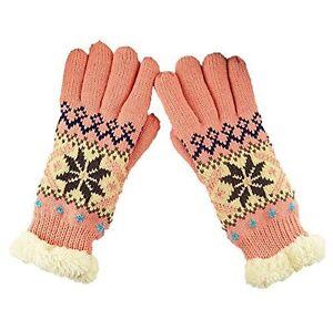 Gants-epais-et-chauds-motif-flocon-de-neige-pour-Femme-taille-unique-Rose