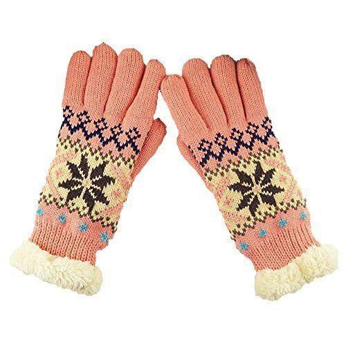 Gants épais et chauds motif flocon de neige pour Femme , taille unique ( Rose )