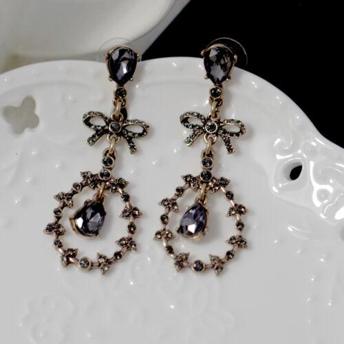 Boucles d/'Oreilles Clous Goutte Gris Noeud Papillon Bow Fin Art Deco XX 8