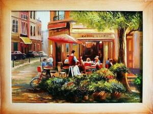Oil-Painting-Pictures-Cities-Handmade-034-Paris-034-with-Frame-G03220