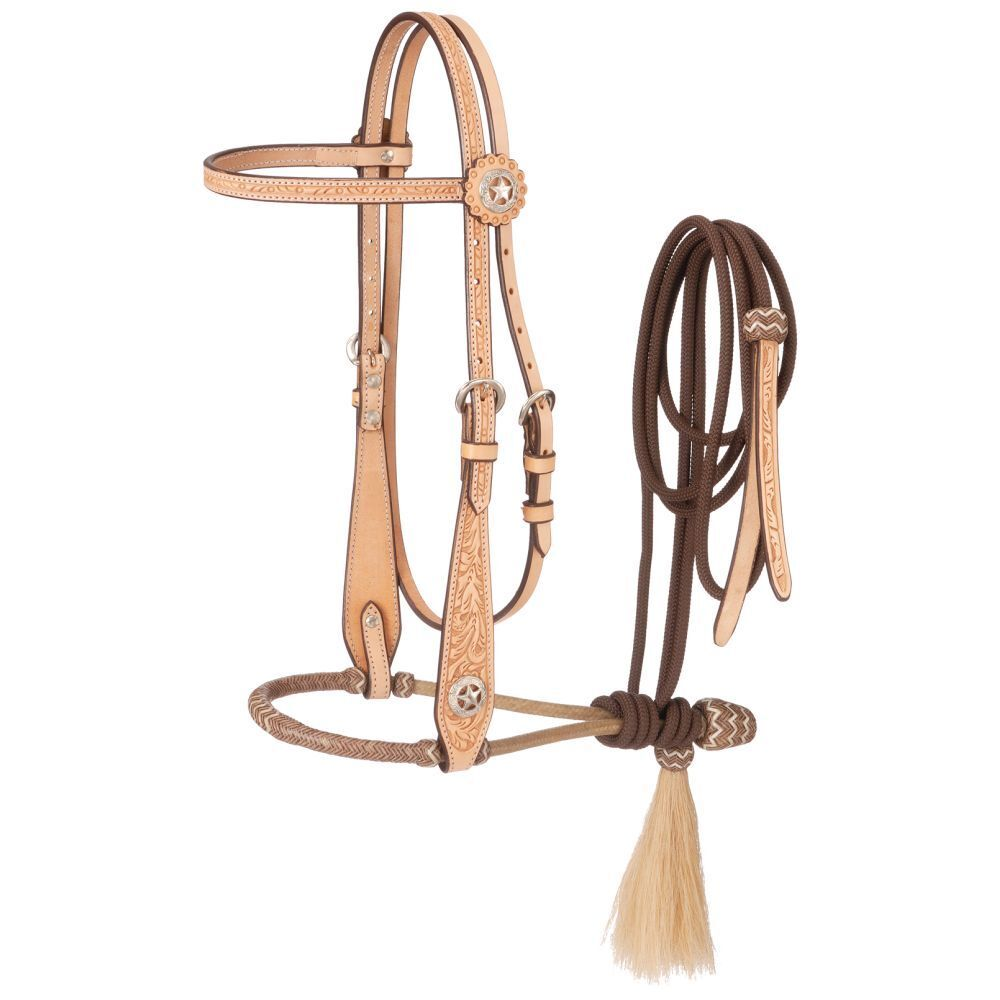 Western Natural Leather Hand Tooled Headstall with Bosal and Nylon  Reins  clients first reputation first