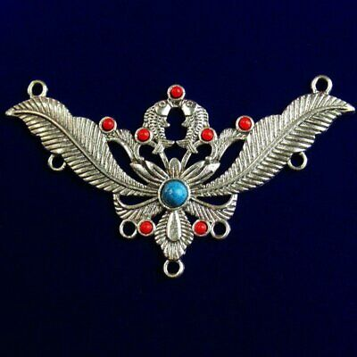 Tibetan Silver Inlaid Red Blue Turquoise Pendant Bead 79x44x5mm 11g A-911PJ