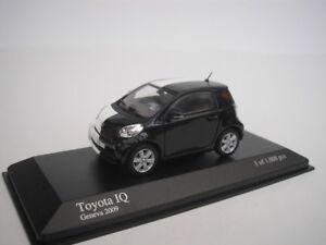 TOYOTA-IQ-GENEVE-CAR-VOIR-L-039-ETABLISSEMENT-2009-NOIR-BLANC-1-43-MINICHAMPS