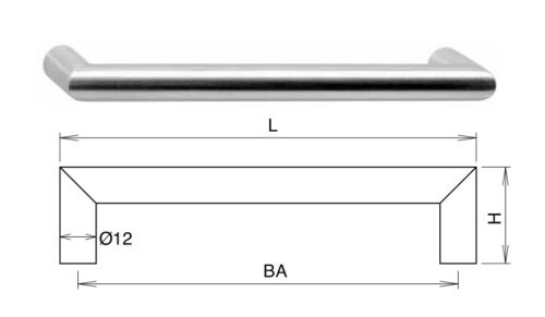 Höhe Gehrungsgriff Edelstahl Durchmesser 32mm versch 12mm Größen