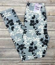 Gray White Black Floral Vine Leggings Leaves Printed ONE SIZE OS
