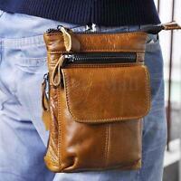 Men Genuine Leather Travel Messenger Shoulder Hip Bum Belt Fanny Pack Waist Bag