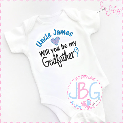 Will You Be My Godfather Embroidered Baby Romper Babygrow Gift Personalised