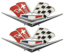 1962 1963 Chevy Impala Belair Front Fender Emblem Flags Pair 327 409 Corvette