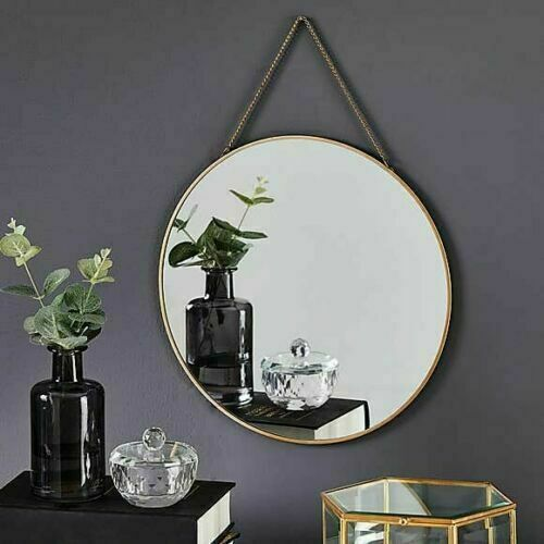 Vintage Round Chain Hanging Gold Frame, How To Hang Vintage Mirror On Chain