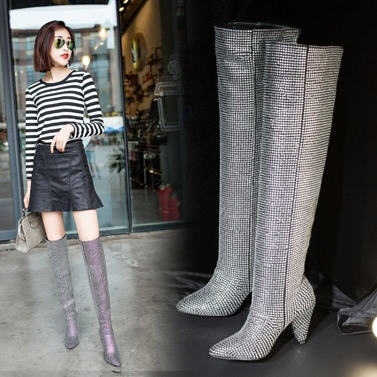 Women Rhinestone Glitter Faux-Suede Embellished Crystal Covered Knee High Boot