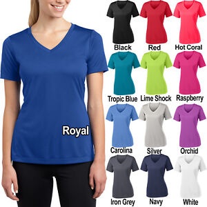 Ladies-Moisture-Wicking-T-Shirt-V-Neck-Dry-Fit-Womens-Tee-Top-XS-4XL-NEW