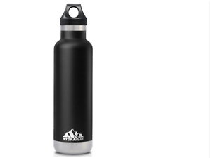 HYDRA PEAK Insulated Water Bottle 21 oz Narrow-Mouth Black Stainless Steel