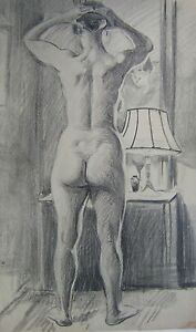 FIGURE-STUDY-A-REAR-VIEW-NUDE-LOOKING-IN-A-MIRROR-PENCIL-ENG-SCH-C1930