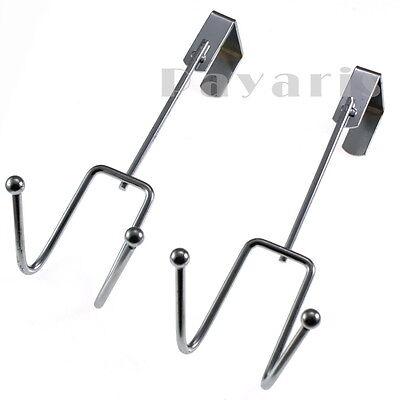Heavy Duty Stainless Steel Over The Door Hooks Overdoor Cloth Hanger 2 Pc