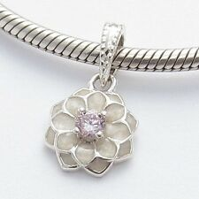 DAHLIA FLOWER DANGLE CHARM Bead Sterling Silver.925 f European Bracelet 632