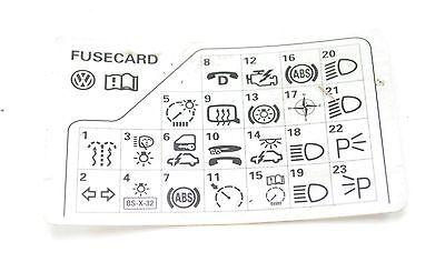 VW Passat B5 98-05 Fuse Diagram Reference Card 3B0 010 207 ...
