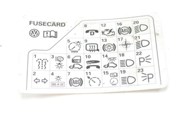 vw passat b5 98 05 fuse diagram reference card 3b0 010 207 h forvw passat b5 98 05 fuse diagram reference card 3b0 010 207 h