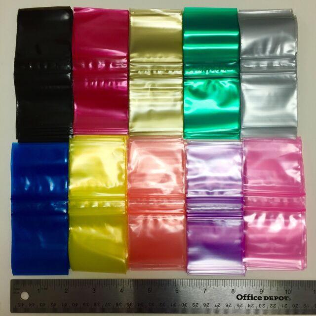 """2020 ZIP LOCK PLASTIC COLOR BAGS 2000 BAGGIES 2.8 MIL 10 COLOR TO CHOOSE 2"""" X 2"""""""